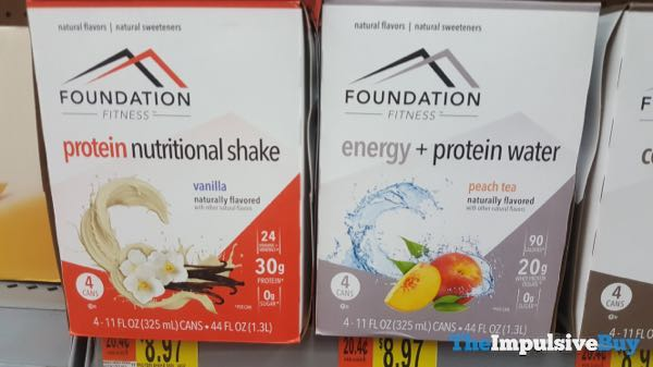 Foundation Fitness Vanilla Protein Nutritional Shake and Peach Tea Energy + Protein Water