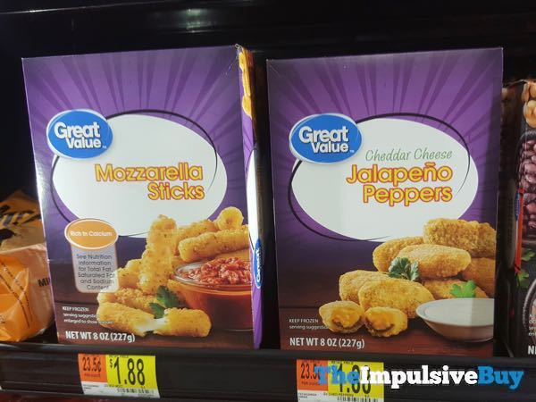 Great Value Mozzarella Sticks and Cheddar Cheese Jalapeno Peppers