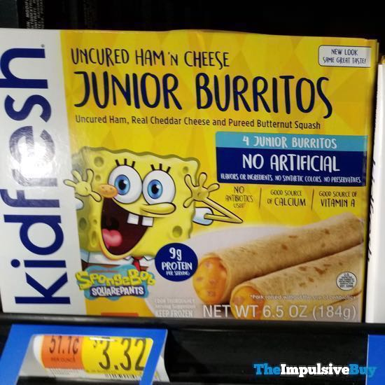 KidFresh Spongebob Squarepants Uncured Ham n Cheese Junior Burritos