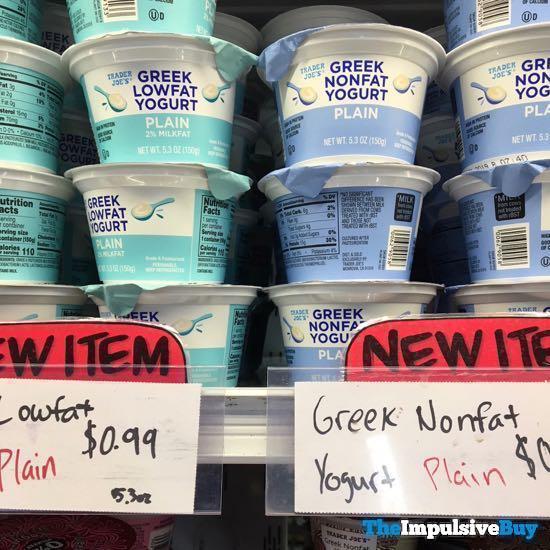 Trader Joe s Plain Greek Lowfat 2 Milk Fat Yogurt and Nonfat Yogurt