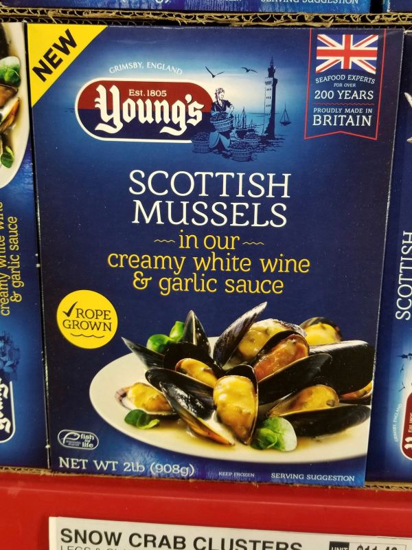 Young s Scottish Mussels in Creamy White Wine  Garlic Sauce