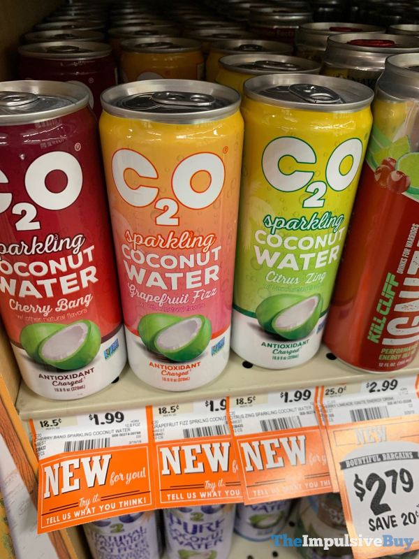 C20 Sparkling Coconut Water  Cherry Bang Grapefruit Fizz and Citrus Zing