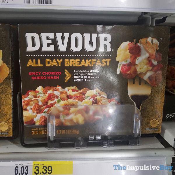 Devour All Day Breakfast Spicy Chorizo Queso Hash