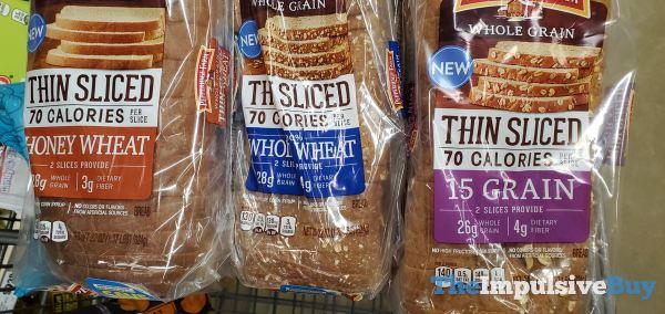 Pepperidge Farm Thin Sliced Bread  Honey Wheat Whole Wheat and 15 Grain