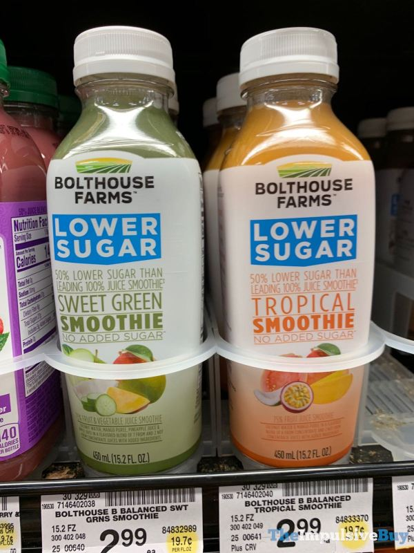 Bolhouse Farms Lower Sugar Sweet Green Smoothie and Tropical Smoothie
