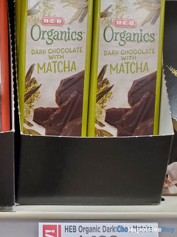 H E B Organics Dark Chocolate with Matcha Bar