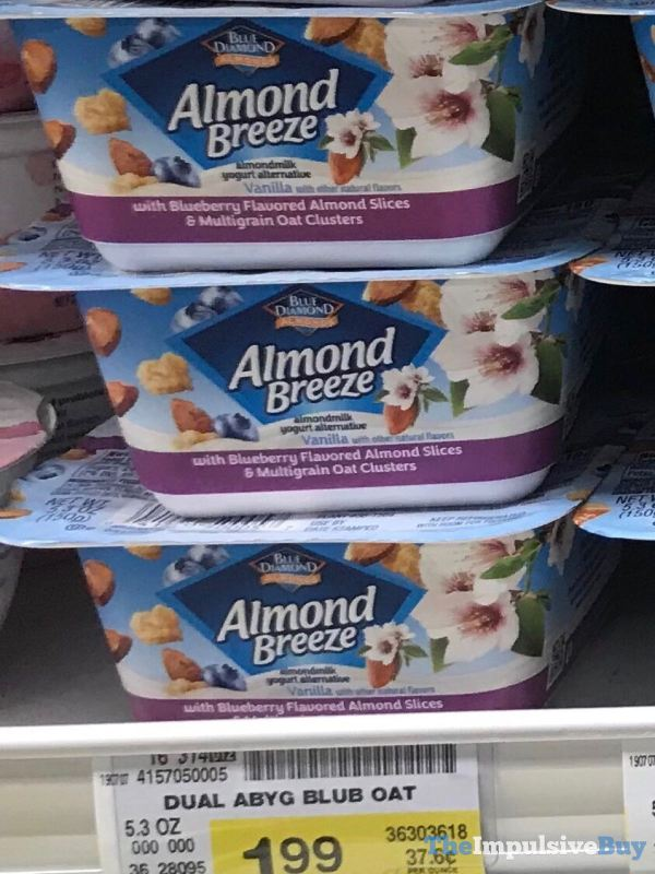 Blue Diamond Almond Breeze Almondmilk Yogurt Alternative with Blueberry Flavored Almond Slices  Multigrain Oat Clusters