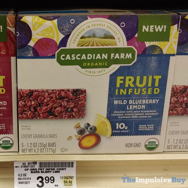 Cascadian Farm Wild Blueberry Lemon Fruit Infused Chewy Granola Bars