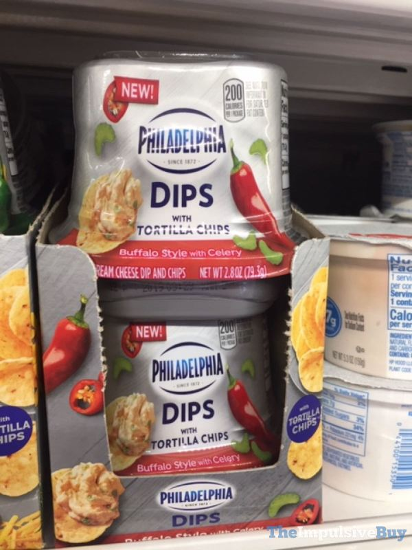 Philadelphia Dips with Tortilla Chips Buffalo Style with Celery