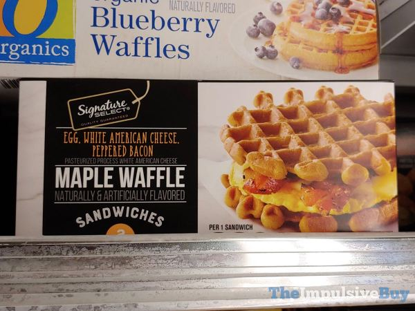Signature Select Egg White American Cheese Peppered Bacon Maple Waffle Sandwiches