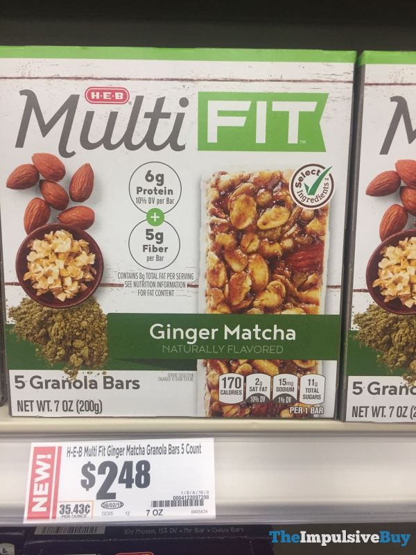 H E B Multi FIT Ginger Matcha Granola Bars