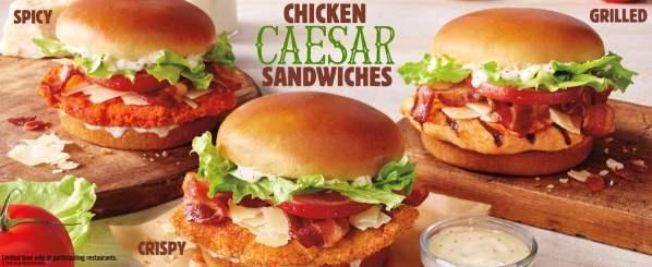 News Burger King Chicken Caesar Sandwiches