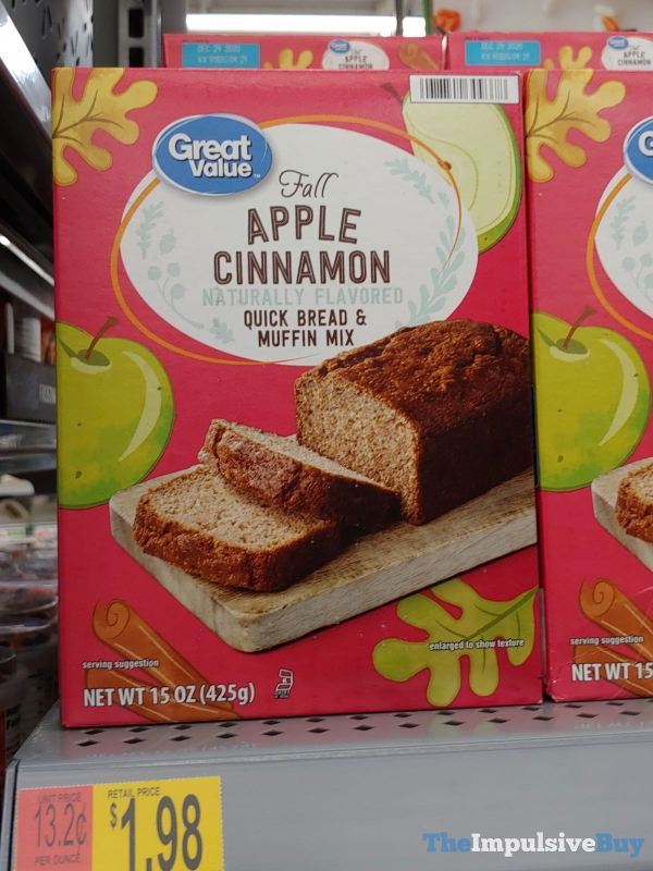 Great Value Fall Apple Cinnamon Quick Bread  Muffin Mix