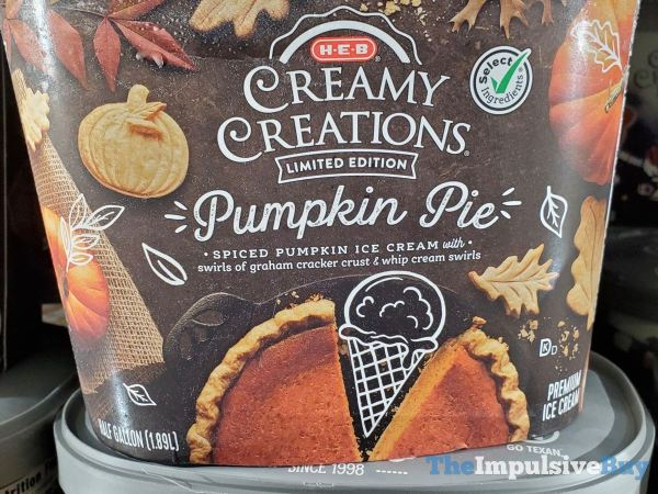 H E B Limited Edition Pumpkin Pie Ice Cream