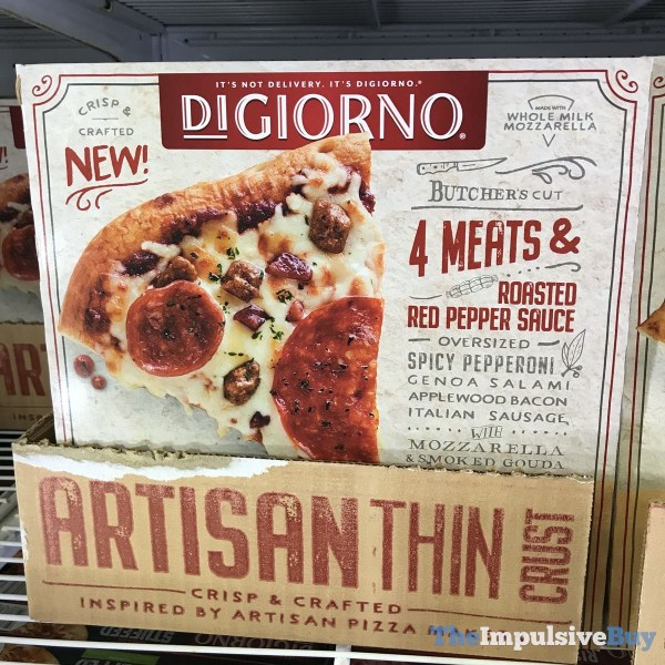 DiGiorno 4 Meats  Roasted Red Pepper Sauce Artisan Thin Crust Pizzas