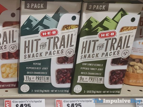 H E B Hit the Trail Snack Packs  Pepitas Peppered Beef Jerky  Dried Cranberries and Sunflower Kernels Peppered Turkey Jerky  Dried Cranberries