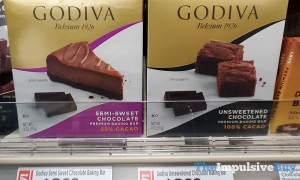Godiva Premium Baking Bars Semi Sweet and Unsweetened Chocolate