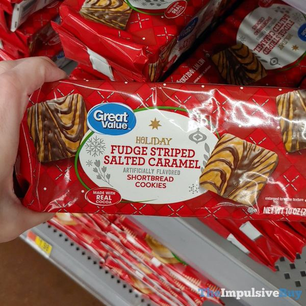 Great Value Holiday Fudge Striped Salted Caramel Shortbread Cookies