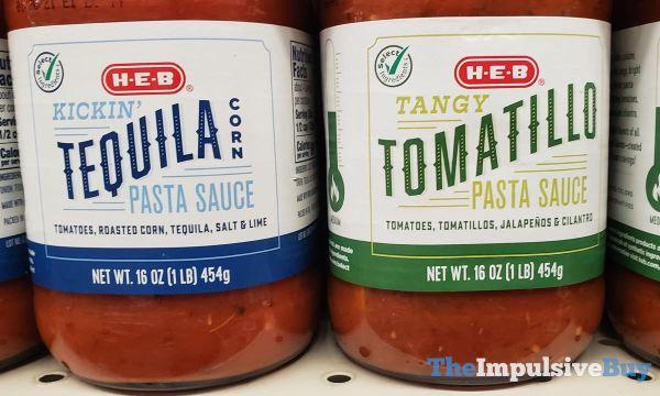 H E B Kickin Tequila Corn and Tangy Tomatillo Pasta Sauces
