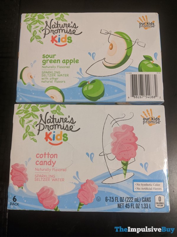 Nature s Promise Kids Sour Green Apple and Cotton Candy Sparkling Seltzer Water