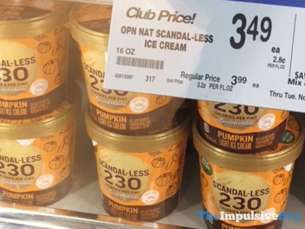 Open Nature Scandal less Limited Edition Pumpkin Light Ice Cream