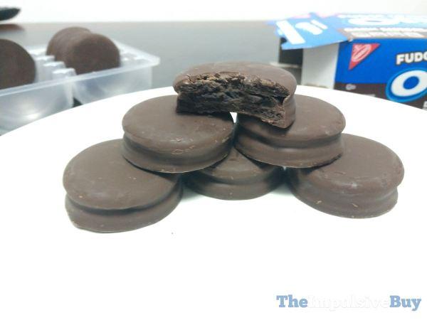 Dark Chocolate Fudge Covered Oreo Cookies Tray Stacked