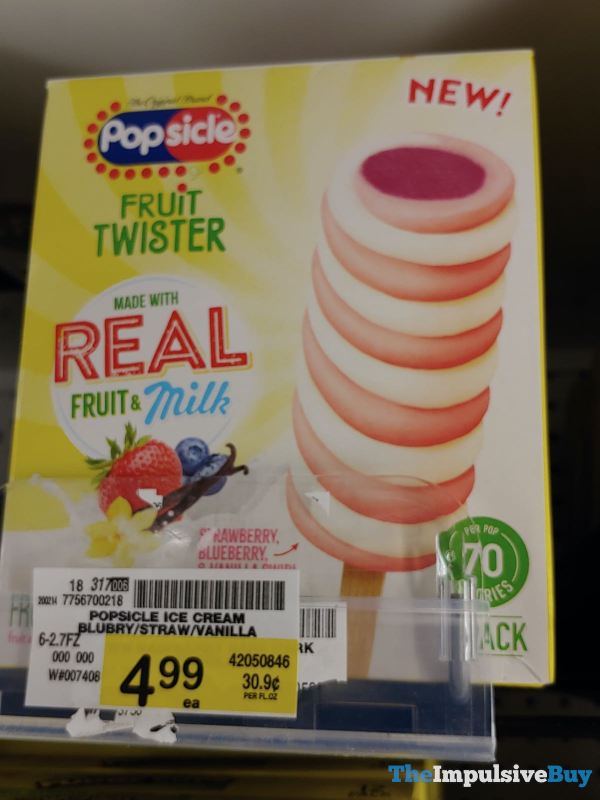 Popsicle Fruit Twister Strawberry Blueberry  Vanilla Swirl