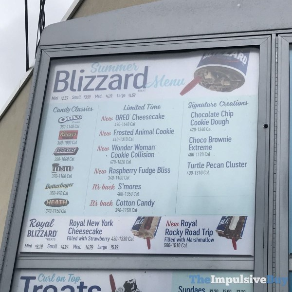 DQ 2020 Summer Blizzard Menu