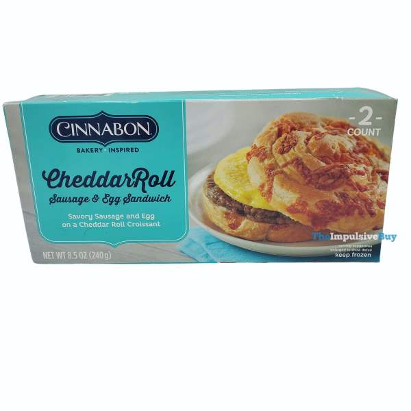 Cinnabon Breakfast Creations CheddarRoll Sausage  Egg Sandwich Box