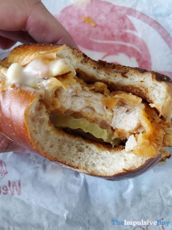 Wendy s Pretzel Bacon Pub Spicy Chicken Sandwich Bite