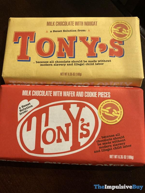 Tony s Milk Chocolate with Nougat and Milk Chocolate with Wafer and Cookie Pieces