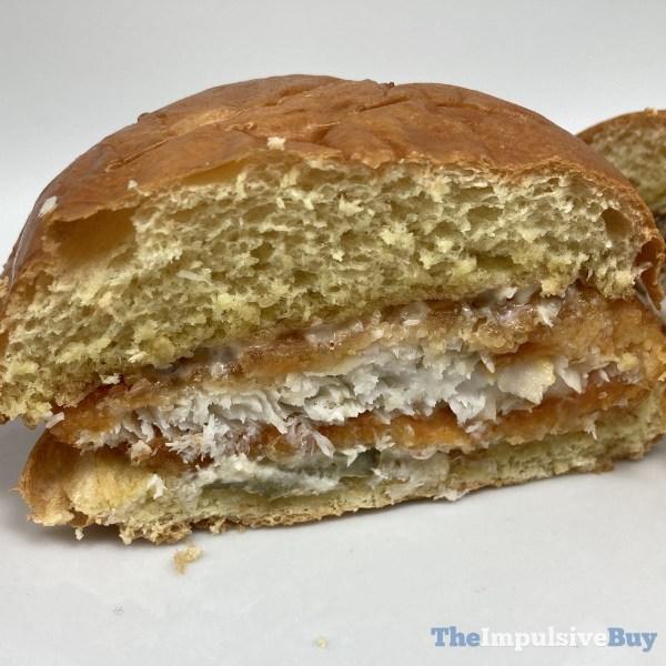 Popeyes Cajun Flounder Fish Sandwich Split