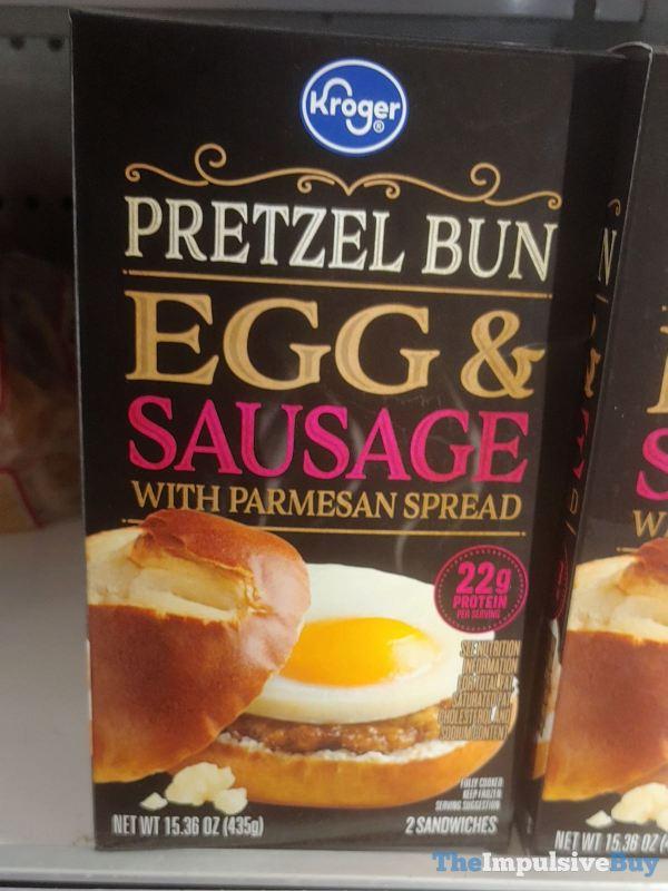 Kroger Pretzel Bun Egg  Sausage with Parmesan Spread