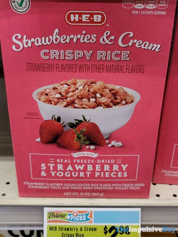 H E B Strawberries  Cream Crispy Rice Cereal