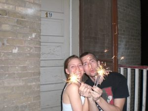 Sparklers on the fire escape!