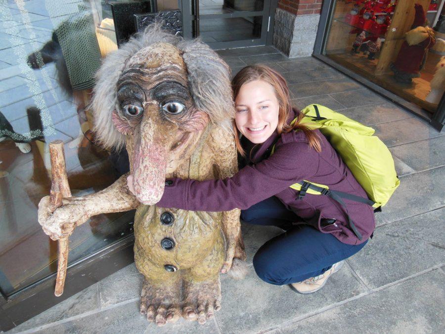 Asleigh hugs troll in Bergen, Norway