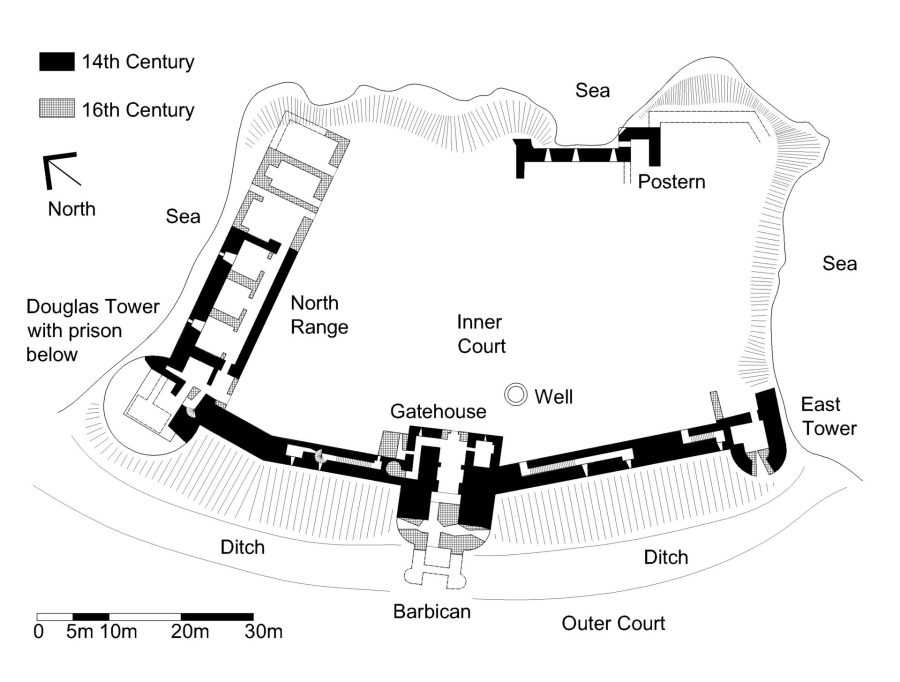 Tantallon Castle layout, Scotland