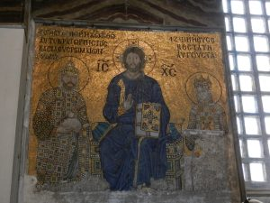 Christian Mosaic in Hagia Sophia, Istanbul, Turkey