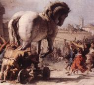 Depiction of the Trojan horse being pulled into the city