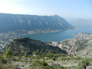 View of castle and Bay of Kotor, Montenegro