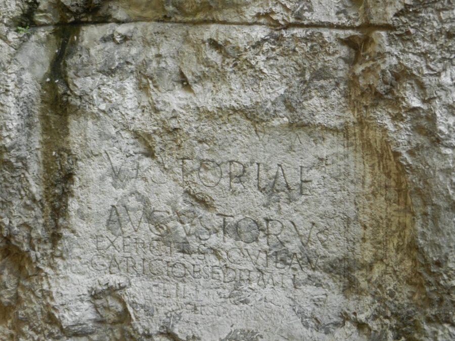Roman inscription in Trenčín, Slovakia