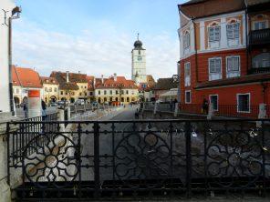 View of Piata Mica from the Liar's Bridge, Sibiu, Romania