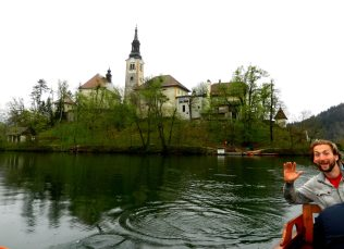 Boating from Bled Island, Slovenia