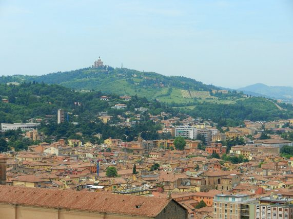 Sanctuary of the Madonna di San Luca from a distance.