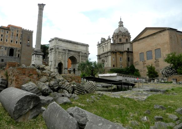 Arch of Septimus, and the Curia in the Roman Forum, Italy