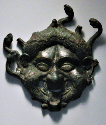 Bronze Mask Medusa gorgon, National Archaeological Museum, Athens, Greece