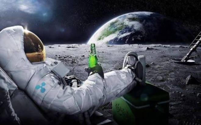 Guy from Ripple sitting on the moon after landing