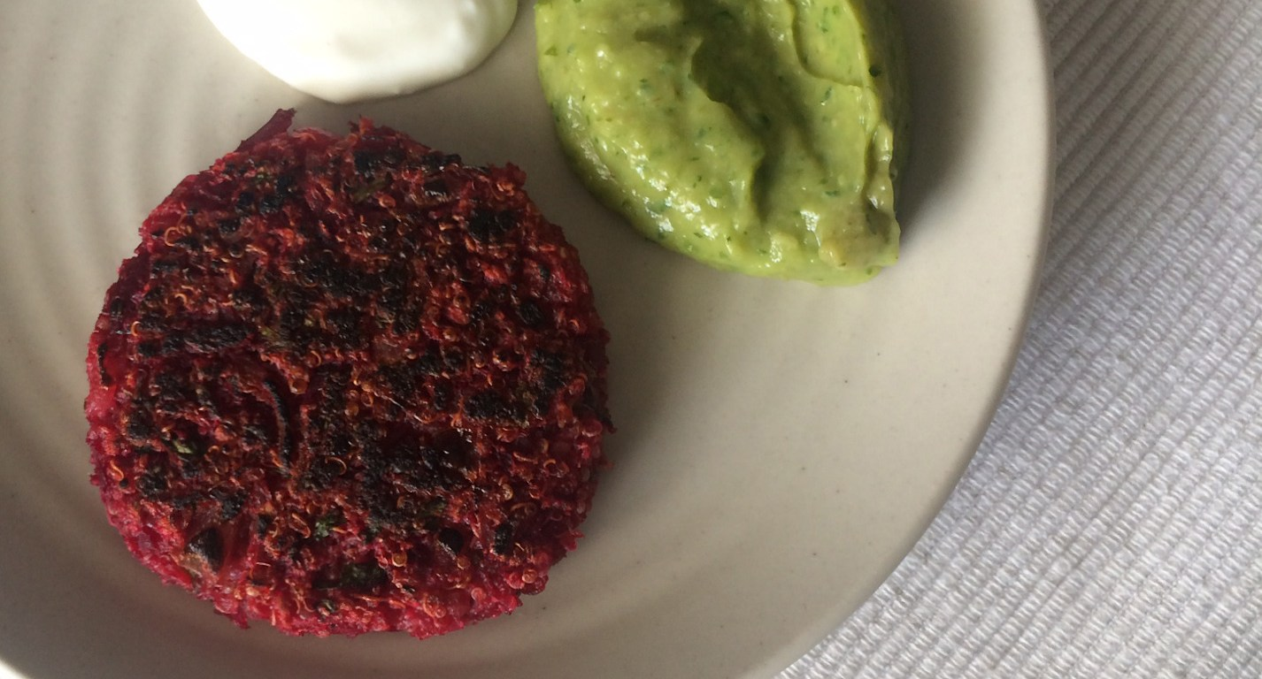 Beetroot and quinoa pattties, paired with avocado-cilantro sauce and garlicky yogurt