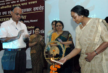 The Union Minister for Social Justice & Empowerment, Smt. Meira Kumar lighting the lamp at the National Trust Awards function of the Ministry of Social Justice & Empowerment, in New Delhi on September 12, 2008.