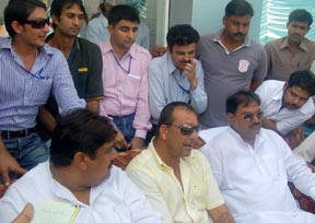 Bollywood star Sanjay Dutt, alias Munna Bhai, talking to the mediapersons during the Jannayak Chaudhary Devi Lal International Twenty20 Cricket Tournament being played at the JCD National Cricket Academy in Sirsa on Friday.